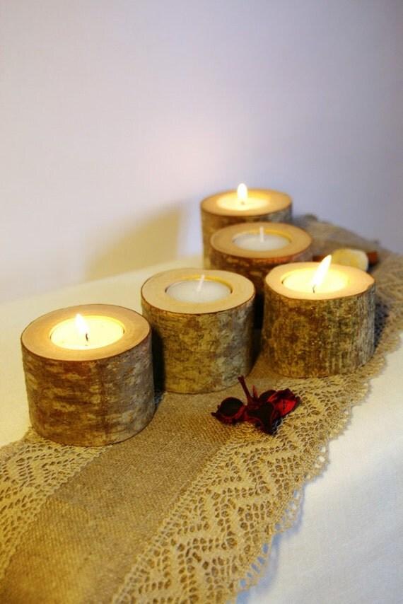 Items similar to 5 wood tealight holder log candle holder for Log candle holder how to make