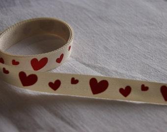 Hearts on a herringbone/webbing ribbon