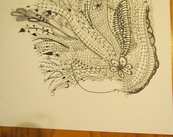 fairy drawing black ink, single, ready for framing, frame not included