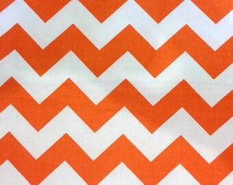 Chevron Stripes - Orange and White Fabric