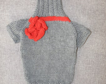 Sweater for Girl Dog, Gray Red colour. Wool, warm jumper, Hand knitted pullover, slip-over for pet, cosy jersey