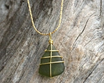 Dark green sea glass necklace - gold