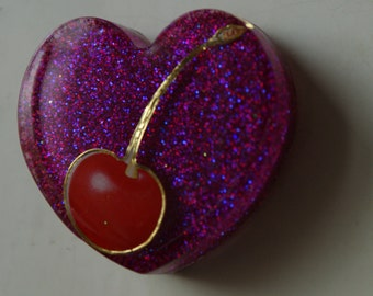 Cherry heart shaped resin magnet