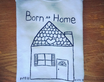 Hand painted Born at home Bodysuit,Born into water Bodysuit,toddler tee shirt