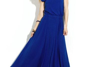 Cobalt Blue maxi dress Dress to the floor Prom dress Autumn dress to the floor Maxi dress for women Long dresses Evening dresses