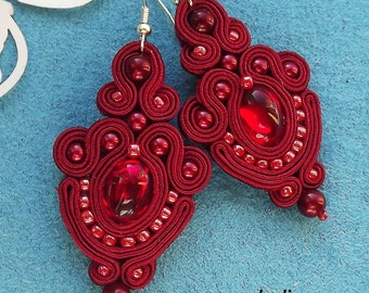 Ruby  Soutache Earrings