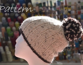 Knit Pom Pom Hat Pattern / Women's Knit Hat Pattern