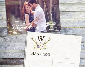 Wedding Thank You Card, Printable Photo Thank You Card, Rustic Thank You Card, Country Wedding Thank You Card, Printable Wedding Stationary