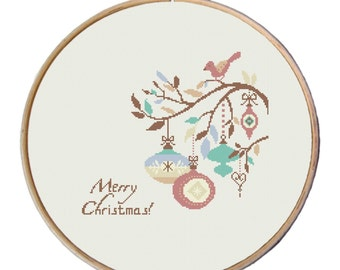 Christmas Ornaments, modern Christmas cross stitch, Cross Stitch Pattern,  Instant Download, funny cross stitch, easy cross stitch