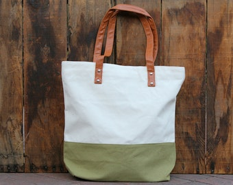 Personalized Canvas Striped Tote Bag -  Olive Green Canvas Tote Bag
