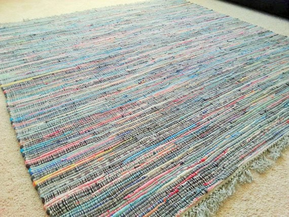 large rag rug 6 39 by 6 39 multi color cotton by yourgreateststory. Black Bedroom Furniture Sets. Home Design Ideas