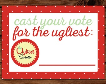 Ugly Sweater Voting Cards - Christmas Party Paper Goods - Printable - Ugly Christmas Sweater Voting