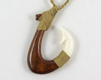 Hawaiian Maori Koa Wood Bone Fish Hook Necklace A5