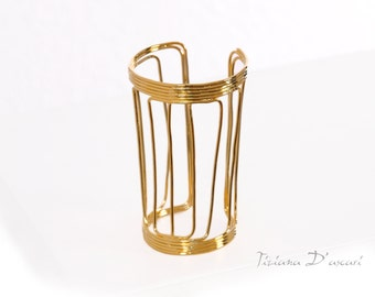 Gold Brass Cuff Bracelet,Gold plated cuff,wide cuff,large cuff,gold bracelet,brass bracelet,statement cuff