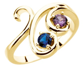 Mother's Birthstone Ring 14k Gold White / Yellow Or Rose Gold Personalized Family Jewelry ST82581