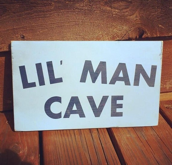 Personalized Man Cave Signs Free Shipping : Wooden sign lil man cave nursery decor by