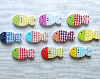 10 Wooden Fish Buttons - #SB-00012