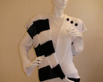 Machine Handmade. Sleeveless Black and White Blouse with black shiny buttons.Elegant Vest.