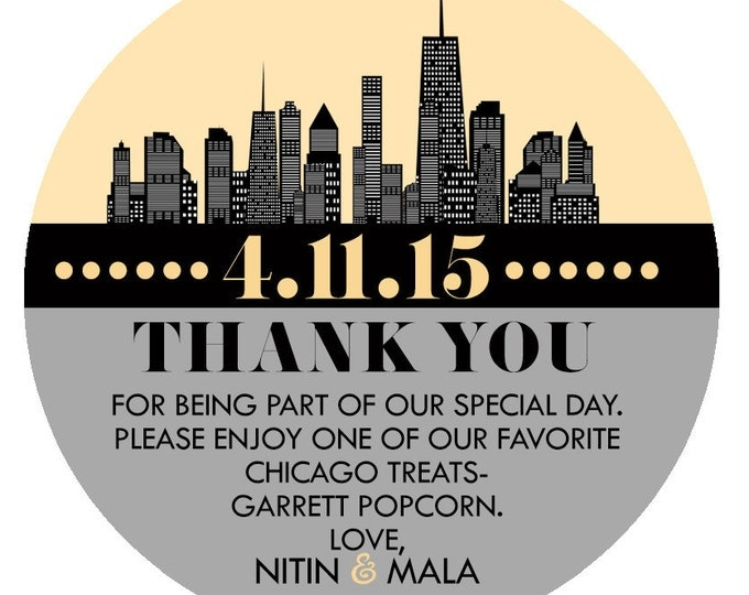 Custom candy label, wedding favor, candy favor, party favor, thank you, gift, wedding, party supplies, sticker, label, tag, skyline