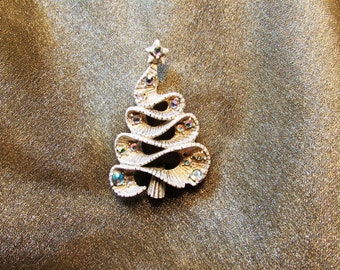 "Unsigned Vintage Tree of Ribbon Christmas Tree Pin / Found in M. Morrison's ""Christmas Jewelry"", & in ""O Christmas Tree"",by Nancy Trowbridge"