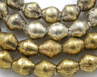 Authentic Ethiopian Brass Beads, Bicone  7mm-8mm, Full 31 inch long strands. 31""