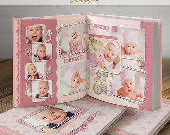 PHOTOBOOK - Our little angel- style of scrapbooking - Photoshop Templates for Photographers. 12x12 Photo Book/Album Template