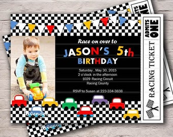 Boy 5th Birthday Invitation, Racing Car Invite, Digital Car Party Invitation, Cars Birthday, Cars Party, Boy BIrthday Invitation, Printable