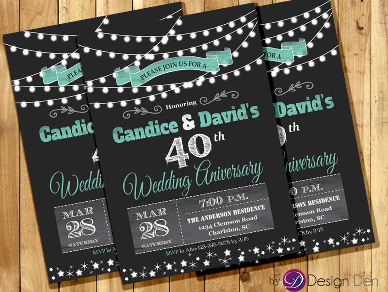 Wedding Anniversary Invitation or Joint Birthday