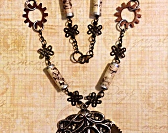 Paper Bead Steampunk Necklace, Steampunk Paper Bead Octopus Necklace, Paper Bead Jewelry, Steampunk Jewelry, Paperbead Jewelry