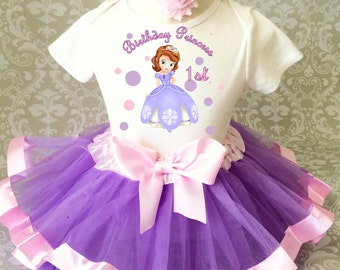 Fast Shipping - Birthday Lavender Purple Pink Princess Sofia Sophia the Age 1 first 1st Shirt & Tutu Set Girl Outfit Party baby