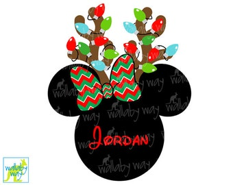 Minnie Reindeer with Christmas Lights Printable Iron On Transfer or Use as Clip Art, DIY Disney Shirt, Minnie chevron, Mickey's Very Merry