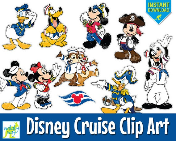 disney cruise digital clip art with mickey minnie donald pluto instant download decorate you fish extender or stateroom door