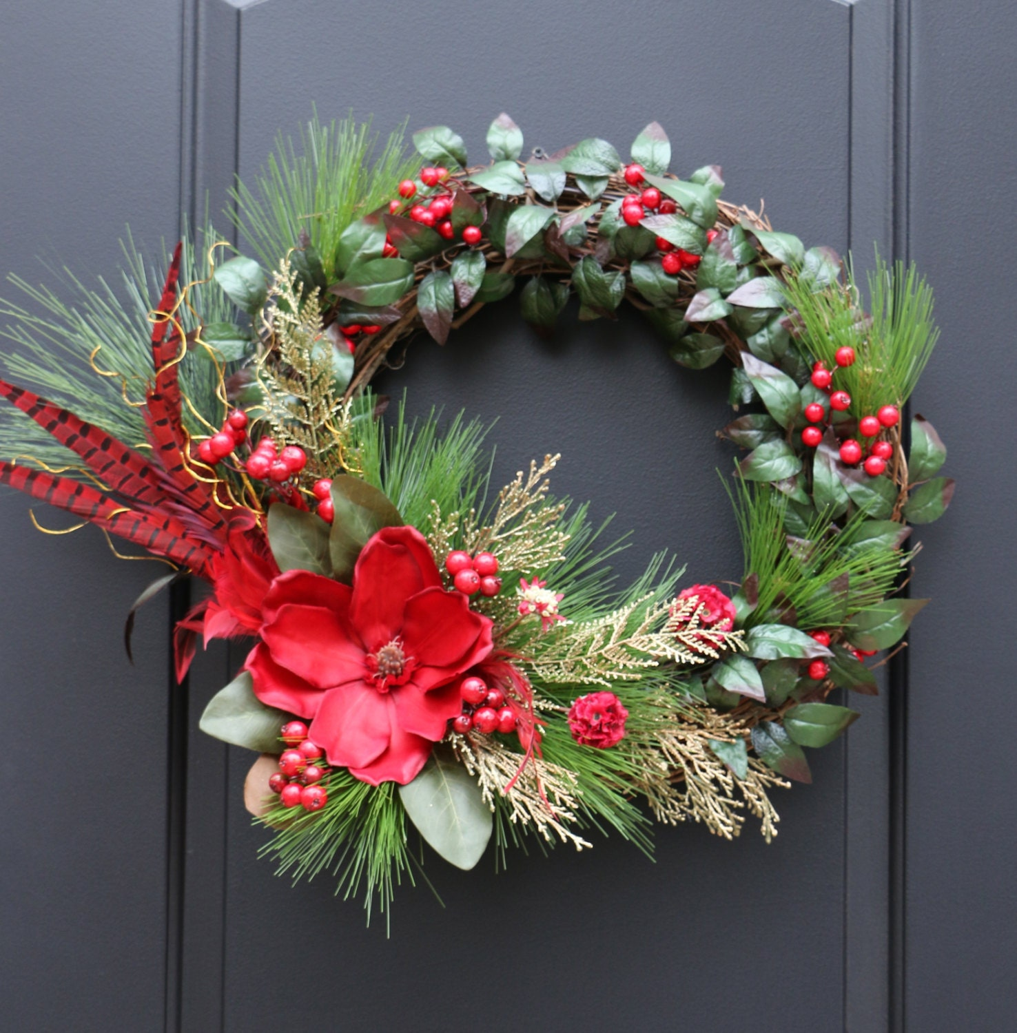 Magnolia, feathers and red berries Christmas door wreath, Holiday wreath