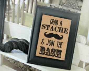 Baby shower sign little man mustache 8x10 INSTANT DOWNLOAD