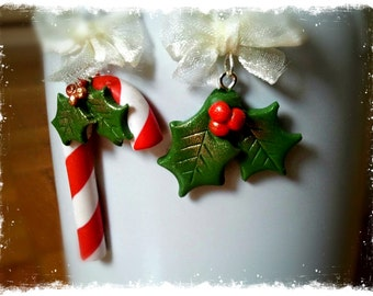 Polymer Clay Candy Canes & Holly Earrings