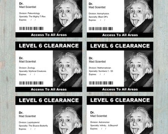 Security Clearance Badge Printable - 16 or 24 Different Designs - Costume for Mad Science Party - Mad Science Birthday Party