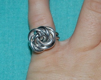 Rose ring, metal, wire jewelry