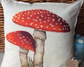 Handmade cushion pillow Shropshire Artist's Toadstool design cotton linen mix