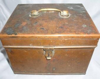Antique Copper Lock Box - Rivets & Solder Construction - 8 x 6 3/4 x 5 3/4 Inches