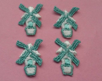 4 Pieces Green White Small Windmill Applique Patch Sew On