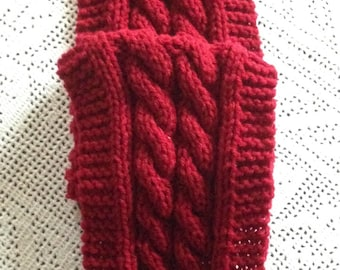 Red Double Cables Knitted Long Women's Scarf