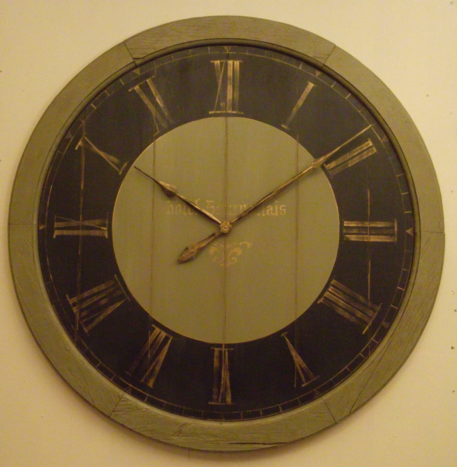 Custom clock 24 inch. green black and gold face wall