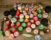 TATTING THREAD: Huge lot of vintage tatting-crochet thread with tatting shuttle
