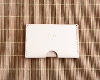 Personalise Leather Card Holder, Hand Stitched Card Holder