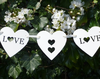 Ivory love heart bunting,garland,banner. Ivory wedding,marriage heart bunting. Wedding decoration,photo prop
