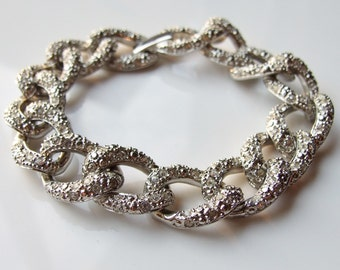 Vintage Silver Large Sparkly Crystal Woven Chain Link Bracelet
