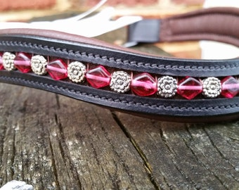 "Sweet Briar dressage or hunter browband, vintage glass beads with silver flower or floral spacers brown 16"" curved"