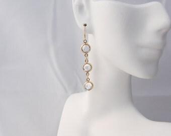 Swarovski Crystal Gold Cuplink Earrings