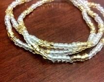 Gold and clear glass stretchy waist beads bin bins belly dance belt African waistbeads Ghana