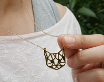 Cat face , Origami Necklace, Cat necklace, Cat jewelry, Animal jewelry, Cute Cat , Cat Gift, Geometric Cat Face